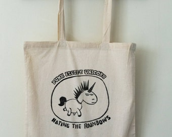Tote bag Barry Unicorn, cotton bag linocut