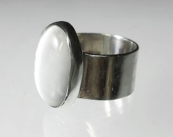 Cats Eye Jewelry White Cats Eye Ring Sterling Silver White Ring