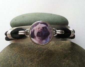 Fawn Pug Tilted Head Charm Dime Stretch Bracelet one size fits most