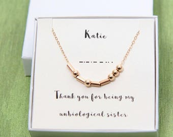 Unbiological Sister Necklace, Morse Code Necklace, Custom Morse Code, Unbiological Sister Gift, Friendship Necklace, Gift for Best Friend