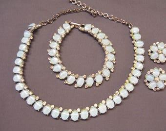 B.S.K. Signed Vintage Jewelry Demi Parure Necklace Bracelet Clip-on Earrings