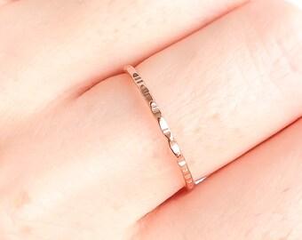 Thin Hammered Stacking Ring, Rose Gold Stacking Ring, Rose Gold Filled Ring