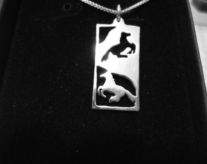 Horse rectangle reflection necklace w/sterling silver chain