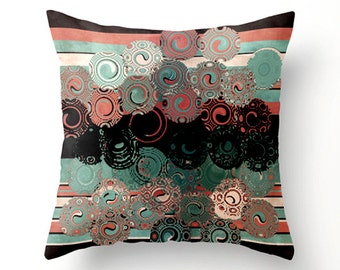 Peach and Aqua Swirls No.1 Decorative Throw Pillow,home decor, colorful scatter cushion, pillow covers, cushion covers, outdoor pillows