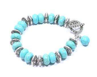 Turquoise Bracelet  - Turquoise Jewelry - Turquoise Howlite Bracelet - Turquoise Beaded Bracelet - Beadwork Jewelry - Big Skies Jewellery
