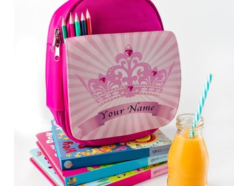 Pink Princess Crown Lunch Bag Insulated Cool Children's School Bag ** Personalised **  SH184