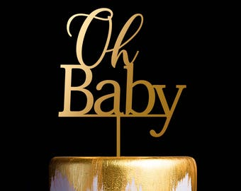 Baby Shower Cake Topper, Oh Baby Cake Topper, Gold Cake Topper for Baby Shower