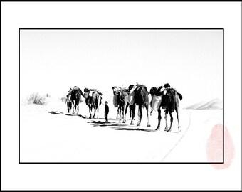 African Decor, Sahara Desert Black and White Photography, Desert Wall Print, Desert Wall Art, Photography Africa, Photo Camels in the Desert