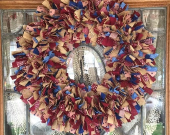 AMERICANA COUNTRY PRIMITIVE Vintage Wreath,Door Decor,Door Hanger,Wreath,Room Decor,Patriotic,Fourth of July,Wall Decor,Stars and Strips