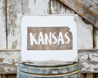 Kansas Wood State Sign | Rustic Decor | Wood Sign | Country Home | Wall Hanging | Farmhouse Decor | Whitewash | Home State Sign
