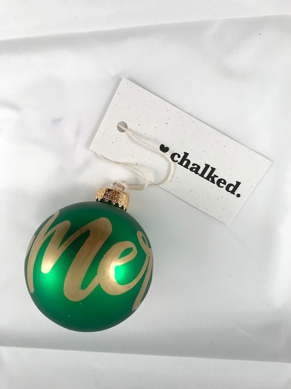 Glass Hand Painted Merry Ornament | Glass Christmas Decoration | Hand Chalked | Hand Written Ornament | Hand Drawn Typography | Holiday