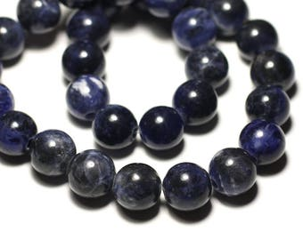 Stone - Sodalite ball 14mm bead 1pc - big hole 3mm - 8741140019515