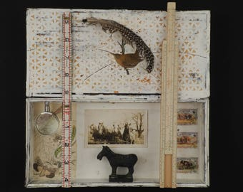 Birds of a Feather:  Original mixed media collage, assemblage art, collage art, box art, curiousity cabinet, encaustic painting