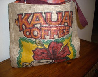 Real Hawaiian Burlap Kauai Coffee Lined Bag (Tote) With Quilted Front