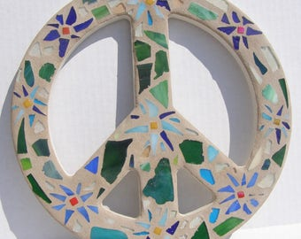 Mosaic Peace Sign Wall Art  Flower Power Beach Decor Hippie Love Decor Boho 60s Retro Art