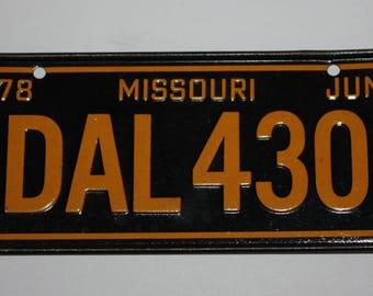 1978 Missouri Wheaties Post Cereal Premium Bike Mini Metal License Plate