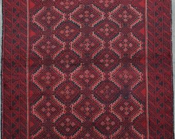 "Beautiful Afghan tribal hand knotted rug 100% wool 3'5"" x 6'2"""