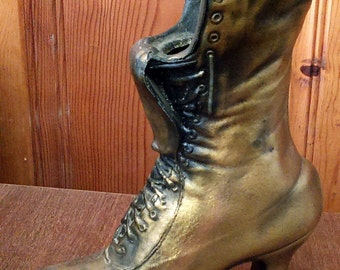 "Vintage Cast Iron Novelty Victorian Boot 9 1/2"" Planter"
