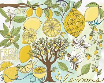 Lemon ClipArt, Lemon Blossom Flower, Hand-Drawn Lemon Tree, Card Making Graphic Download, Summer Lemonade Stand, Citrus Fruit Illustrations