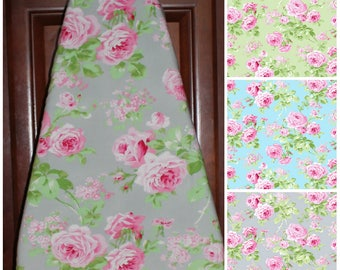 Ironing Board Cover - Charlotte Roses ...two color options .. aqua blue, green