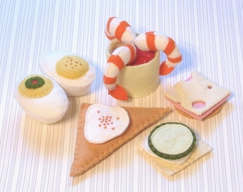 elt Food Pattern Hors d'oeuvre Shrimp Cocktail, Deviled Eggs, Cheese and Crackers, Caviar, Cucumber Sandwich