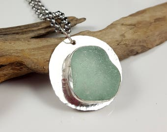 Sea Glass Necklace Sea Glass Jewelry Sea Glass Pendant Aqua Sea Glass Pendant Aqua Sea Glass Necklace - N-563 Mothers Day Gift