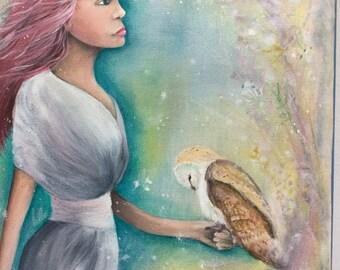 Original Mixed Media Fantasy Fairy Elf Woodland Painting Owl Fae