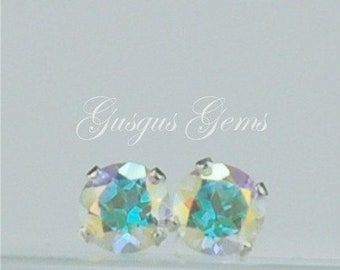 Memorial Day Sale Opalescent Topaz Stud Earrings Sterling Silver 4mm Round .55ctw