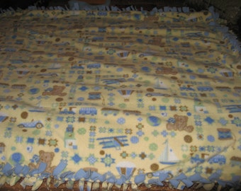 Baby Double sided trains, planes, cars, boats, bears, or  Toddler Quilt