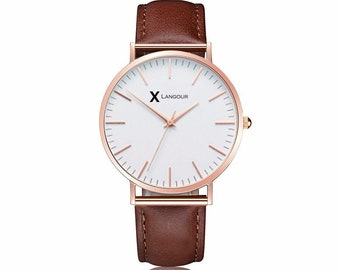 Classic Brown Leather Watch-unisex-brand name Langour-