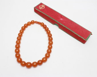 Vintage Natural cognac Baltic Amber Round Beads Necklace