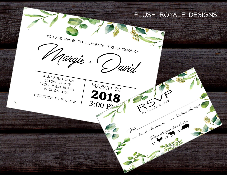 Minimalist, Greenery, Rustic, Modern, Bridal Shower Invitations ...