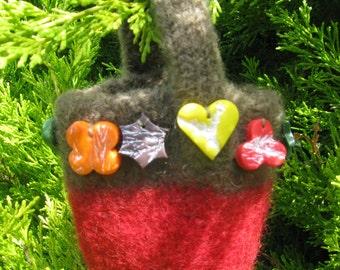 Small handmade felted woollen bag.