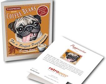 "Pug Art ""Puggaccino"" 6 Small Greeting Cards by Krista Brooks"
