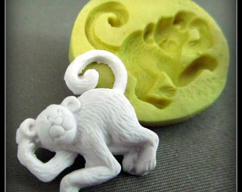 Monkey mold - push mold -  silicon mold  - food craft supplies - clay supplies - molding supplies - ( 6 s )