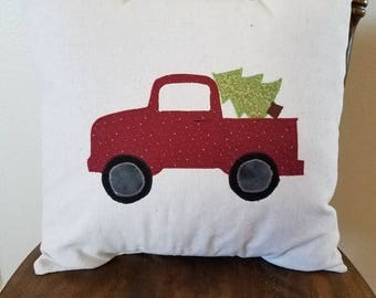 Farmhouse style Vintage Truck Christmas tree pillow cover