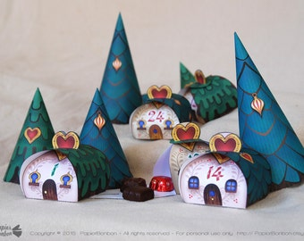 Advent calendar printable, Christmas Village, 24 cute Advent favor boxes for Christmas countdown, 3 Christmas trees - xmas calendar gift box