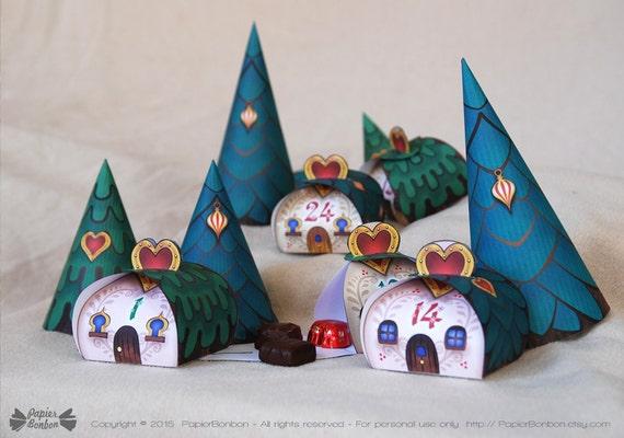 Advent Calendar Village Diy : Advent calendar printable christmas village cute