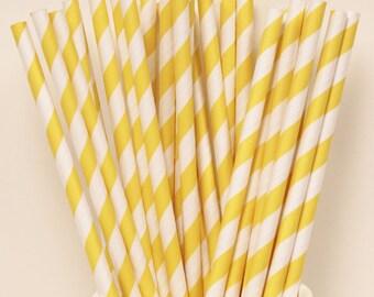 25 Yellow Paper Straws