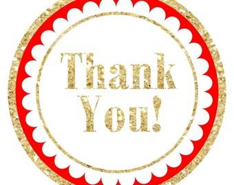 Gold and Red Thank You Stickers, Gold Glitter Thank you Labels