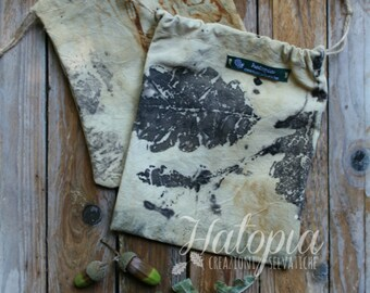 Hand-sewn cloth bags (printing plant)-ecoprint-wildherb-leaves-ecostampa