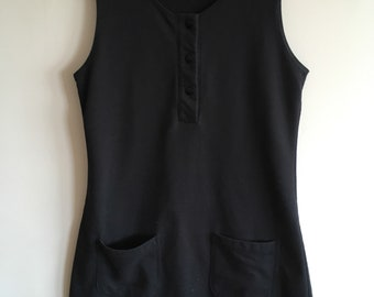 Simple Black Mini Dress With Pockets