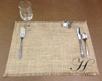 """Burlap Placemats 14"""" x 18"""" - set of 12 - Monogrammed placemats Holiday decorating Home decor"""