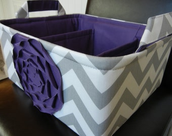 "LG Diaper Caddy(choose COLORS)12""x10""x6"" Two Dividers-Baby Gift-Fabric Storage Organizer-Chevron-""Purple  Rose on Grey Zigzag"""
