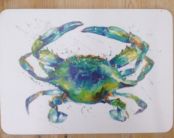 Designer Blue Crab Placemat by Nicola Jane Rowles made in UK