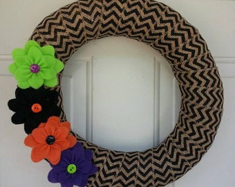 Halloween Wreath / Burlap Wreath / Chevron Wreath / Fall Wreath / Halloween Burlap Wreath / Fall Burlap Wreath
