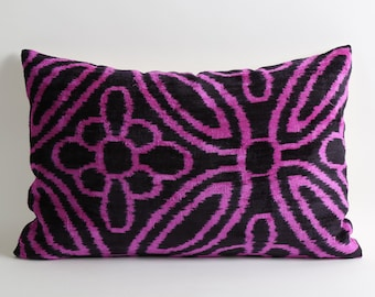 Pink Velvet Ikat Pillow Cover - Pink Black Velvet Ikat Pillow, Couch Sofa Pillows Decorative Throw Pillow Cushion Soft Designer Throw Pillow