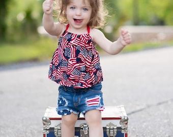 Flag Patriotic Halter Top Girls Top 3,6,9,12 months, 2T, 3T, 4T 5T Top Knot Headband