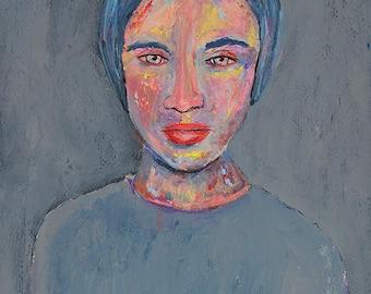 Gray Tonal Woman Portrait Painting Print. Digital Prints. Apartment Wall Print.