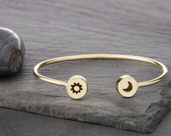 Moon, Sun, Sun and Moon Jewelry, Sun and Moon Charm, Sun Bracelet, Moon Bracelet, Sun and Moon, Sun Moon Bracelet, Sun Charm